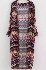 Kimono manga larga zigzag-multicolor
