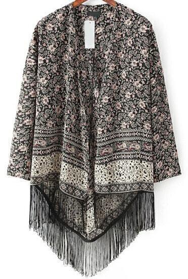 Black Cashew Print Tassel Loose Kimono