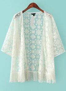 White Embroidered Sheer Mesh Tassel Kimono
