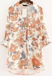 Orange Lapel Long Sleeve Floral Dip Hem Blouse
