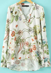White V Neck Floral Dip Hem Blouse