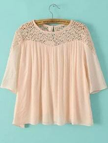 Pink Short Sleeve Lace Loose Blouse