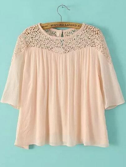 chemise décontracté dentelle -rose
