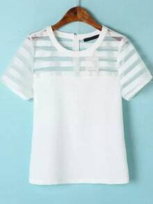 White Short Sleeve Organza Striped Blouse