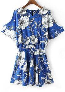 Blue Off the Shoulder V Neck Floral Dress