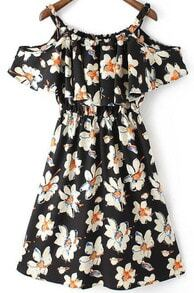 Black Spaghetti Strap Ruffle Floral Dress