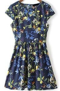 Navy Cap Sleeve Floral Pleated Dress