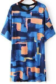 Blue Short Sleeve Vintage Graffiti Print Dress