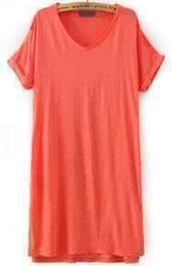 Orange V Neck Short Sleeve Loose Dress