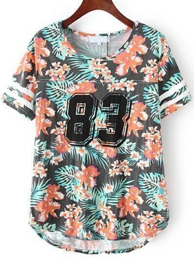 Black Short Sleeve Floral 83 Number Comfort Racewear Monogrammed Print T-Shirt