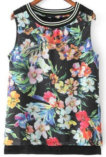Black Sleeveless Floral Dip Hem T-Shirt