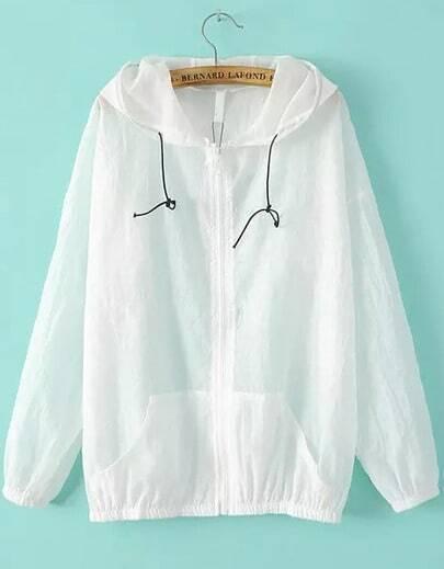 White Hooded Long Sleeve Loose Jacket