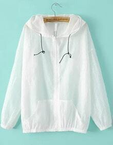 White Hooded Long Sleeve Loose Jacket