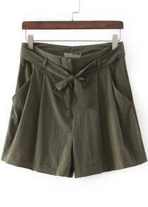 Green Drawstring Waist Casual Shorts