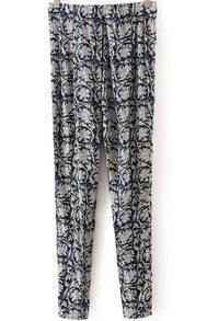 Blue Vintage Floral Slim Pant