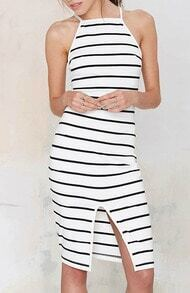 White Spaghetti Strap Hollow Striped Split Dress