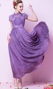 Purple Short Sleeve Vintage Lace Maxi Dress