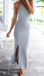 Grey Halter Backless Slim Split Maxi Dress