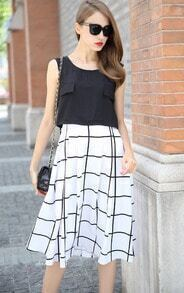 Black White Sleeveless Plaid Chiffon Dress