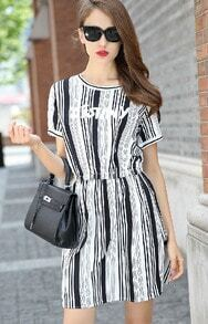 Black White Vertical Stripe DESTINY Print Dress
