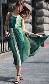 Green Hipster Sleeveless Bohemia Maxi Chiffon Dress