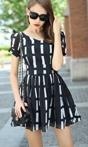 Black V Neck Short Sleeve Bow Striped Dress