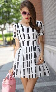 White V Neck Short Sleeve Bow Striped Dress