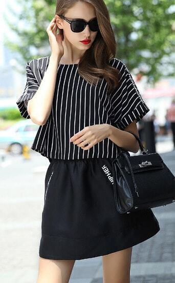 Black Short Sleeve Vertical Stripe Two Pieces Dress