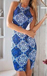 Blue Halter Backless Floral Split Bodycon Dress