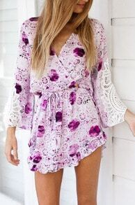 Purple V Neck Long Sleeve Hollow Lace Dress