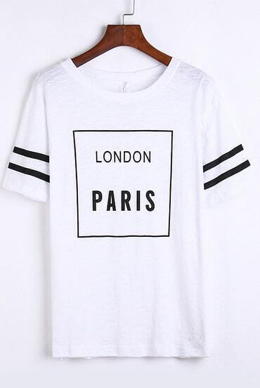White Short Sleeve LONDON PARIS Print T-Shirt