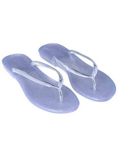 Silver Flip Flat Sandals
