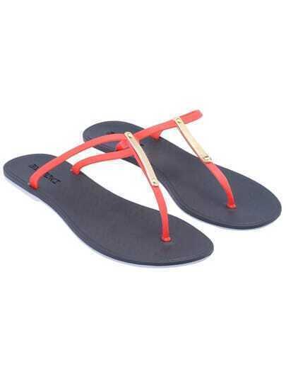 Red Flip Flat Sandals