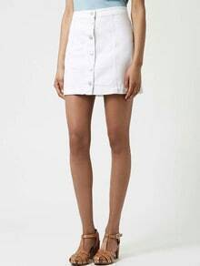 White Single-breasted A-Line Denim Skirt