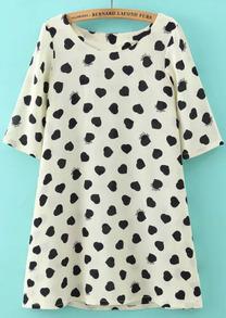 Heart Print Back Bow A-Line Dress