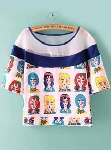 With Mesh Cartoon Print T-shirt