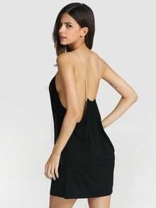 Black Halter Backless Shift Dress