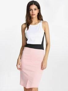White Sleeveless Color Block Dress