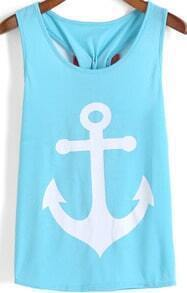 Light Blue Anchors Print Bow Embellished Tank Top