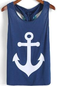 Blue Anchors Print Bow Embellished Tank Top