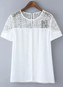 White Short Sleeve Hollow Lace Blouse