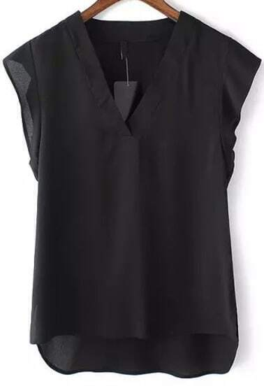 Black V Neck Ruffle Dip Hem Blouse