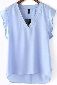Blue V Neck Ruffle Dip Hem Blouse