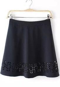 Navy High Waist Hollow Skirt