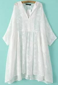 White Long Sleeve Loose Chiffon Dress