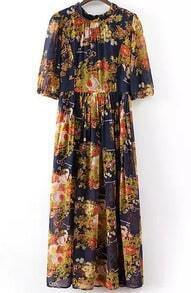 Navy Vintage Key Print Pleated Maxi Dress