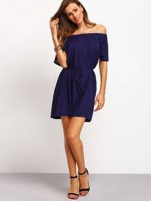Navy Off The Shoulder Shift Dress