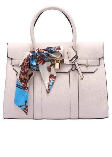 Beige Bow Embellished Lock Bag