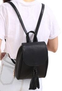 Black Tassel PU Backpack