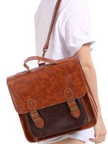 Coffee Vintage Buckle PU Bag